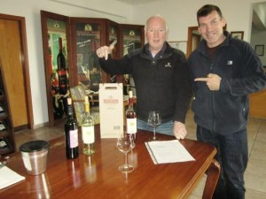 Gerry (right) on a tour, at Fikardos winery
