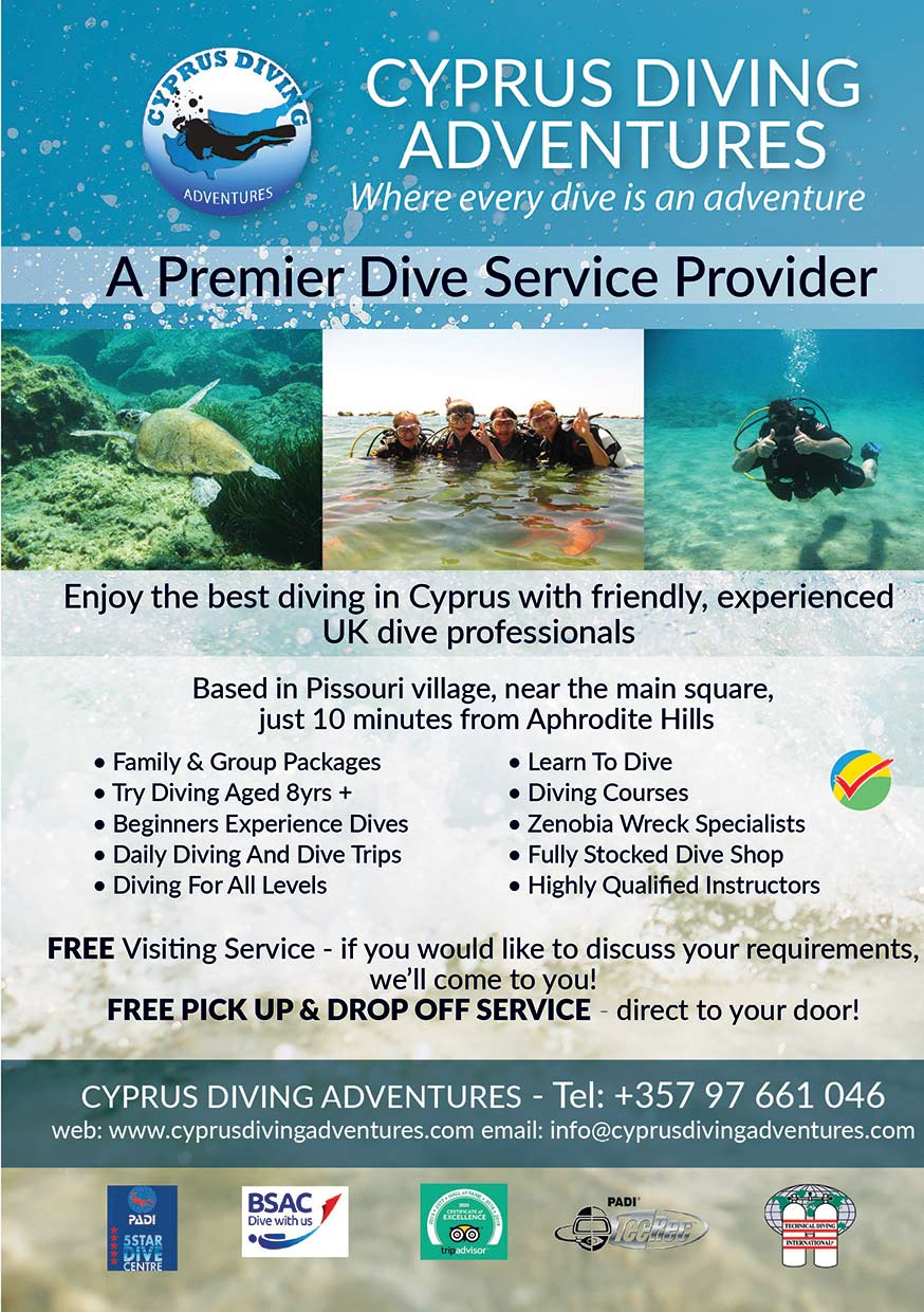 Cyprus Diving Adventures advert 2020