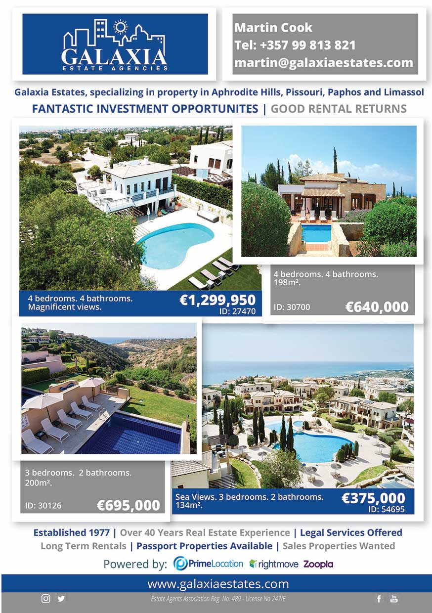 Galaxia real estate advert Cyprus